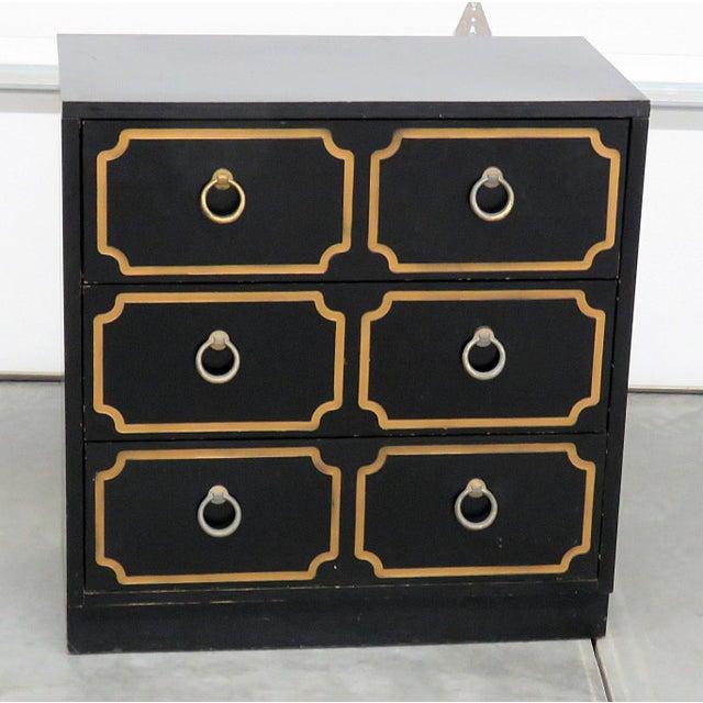 Mid-Century Modern Ebonized Black & Gold Chest For Sale - Image 10 of 10
