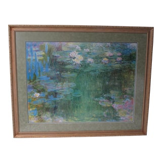 """Waterlilies"" by Claude Monet Framed Lithograph For Sale"