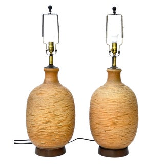 Bob Kinzie Ceramic Large Table Lamp Pair For Sale