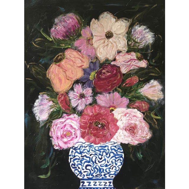 2010s Flowers in Vase Still Life Acrylic Painting For Sale - Image 5 of 5