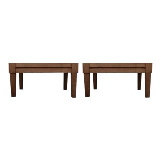 Tradiitonal McGuire Furniture Company Portico Teak Outdoor Side Tables - a Pair For Sale
