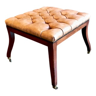 Regency-Style Tufted Leather Bench For Sale