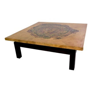 Maria Teresa Mendez Coffee Table, Goatskin Mahogany, Mid Century Mod For Sale