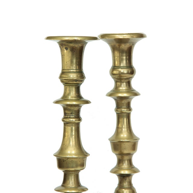 Traditional Antique 18th Century Russian Brass Candlesticks - a Pair For Sale - Image 3 of 6