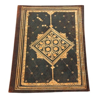 Vintage Moroccan Green Leather Hand Tooled Embossed Portfolio For Sale