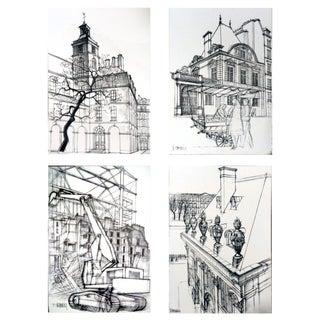 """1978 Jacques Chevalier """"Dessins De Paris"""" Lithographs- Set of 4"""