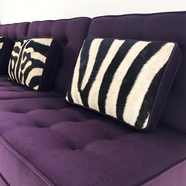 Purple Forsyth Vintage Florence Knoll Sofa Restored in Loro Piana Cashmere With Custom Zebra Hide Pillows For Sale - Image 8 of 13