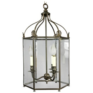 Regency Style Brass and Glass Hall Lantern For Sale