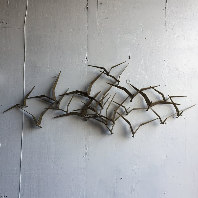 "Curtis Jere Mid-Century ""Flock of Seaguls"" Brutalist Metal Wall Sculpture - Image 2 of 7"