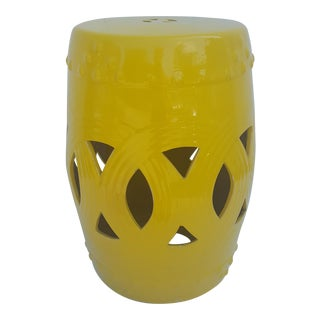 Vintage Yellow Glaze Garden Stool