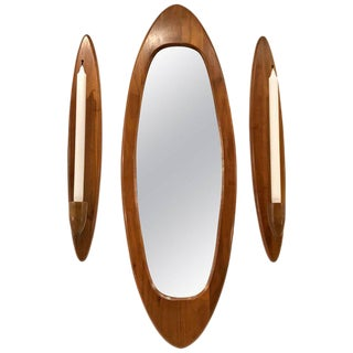 Danish Modern Teak Surfboard Mirror Garniture - Set of 3