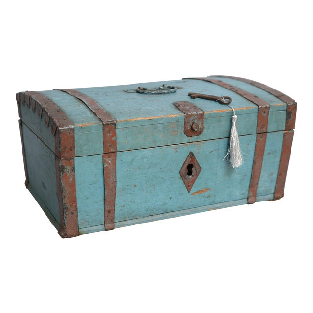 Antique Swedish Chest Strong Box, Lock & Key For Sale