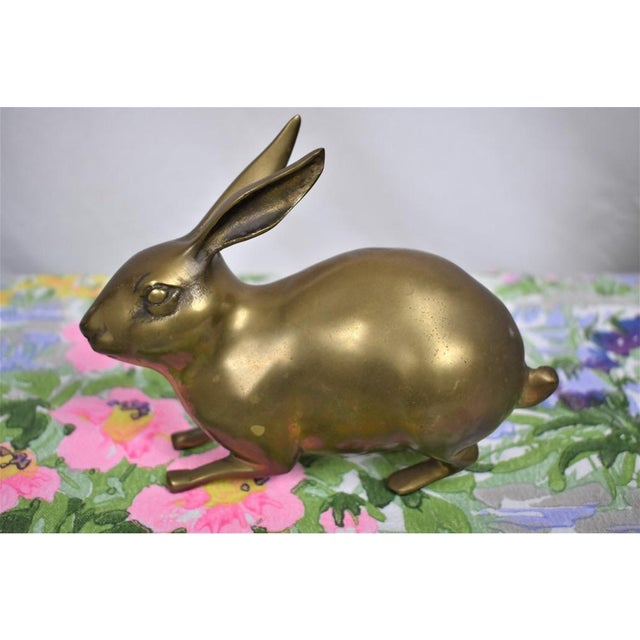 1980s Brass Rabbit Figurine For Sale - Image 4 of 4