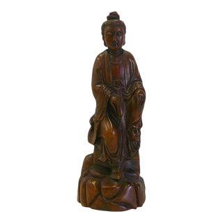 Chinese Boxwood Sitting Scholar Kwan Yin Statue cs695-2C For Sale