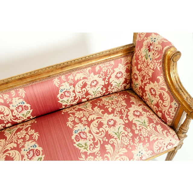 Late 19th Century French Louis XVI Style Giltwood Frame Settee For Sale - Image 5 of 13