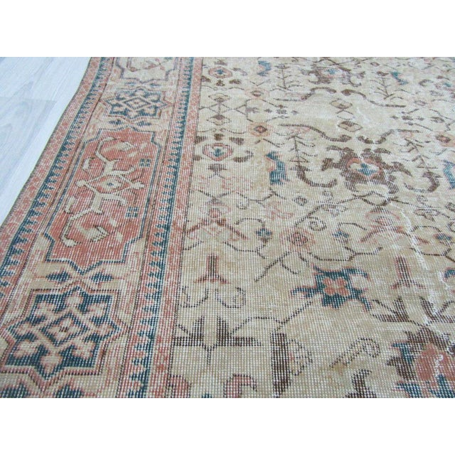 Vintage Turkish Oushak Distressed Rug- 6′7″ × 9′8″ For Sale - Image 12 of 12