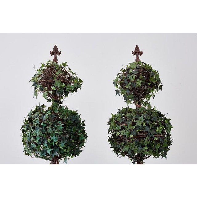 Metal Pair of Neoclassical Faux Ivy Topiary Trees For Sale - Image 7 of 13