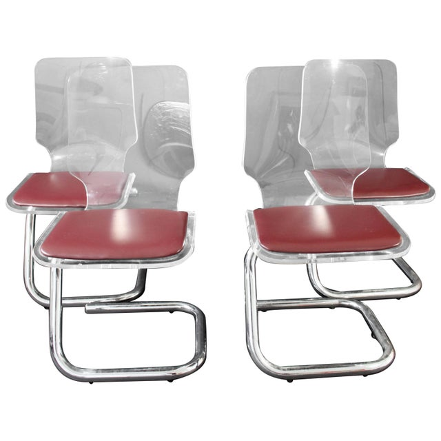 Mid-Century Modern Set of Four Lucite Dining Chairs by Luigi Bardini for Hill For Sale - Image 10 of 10
