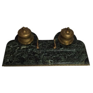 19th Century Marble Gold Beaded Inkwell