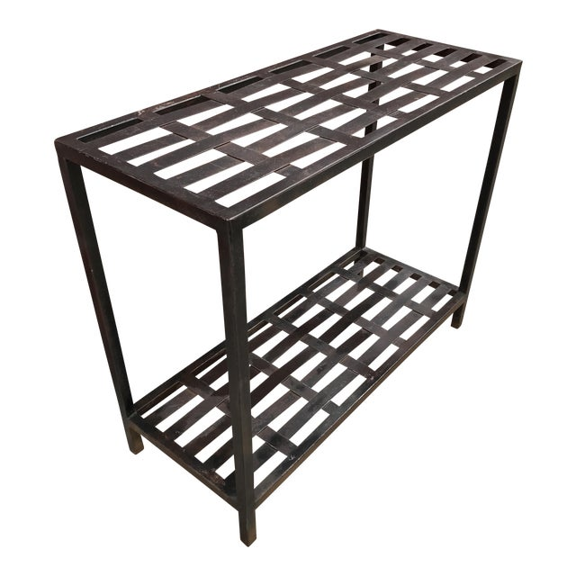 Woven Metal Console Table - Image 1 of 7