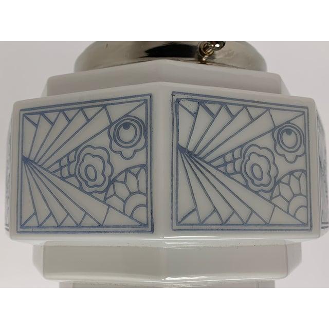 1930s 1930s Art Deco Semi Flush With Blue Stenciled Design For Sale - Image 5 of 6