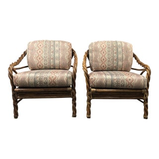 McGuire Mid-20th Century Twisted Arm Lounge Chairs- a Pair For Sale