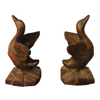Art Deco Bronze Bird Bookends - a Pair For Sale