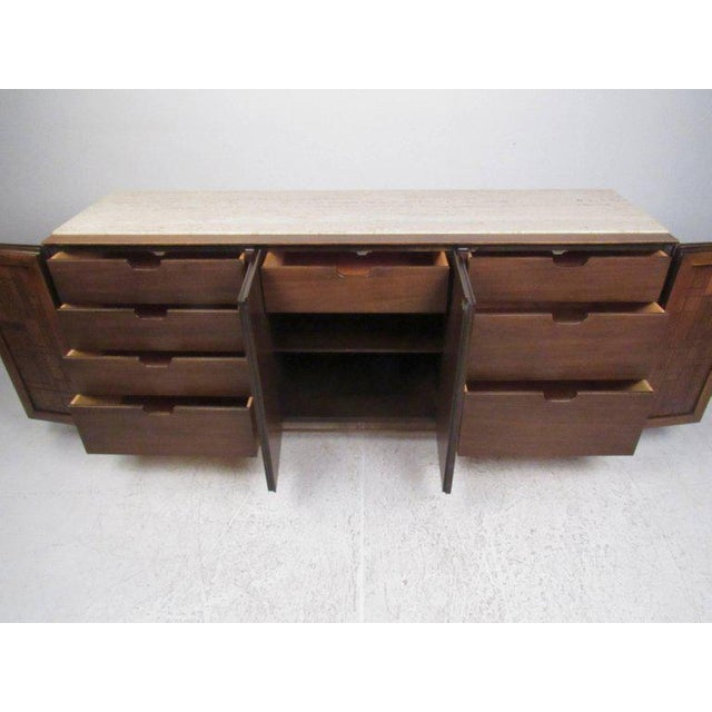 Johnson Brothers Bert England for Johnson Bros Vintage Modern Travertine Top Sideboard For Sale - Image 4 of 11
