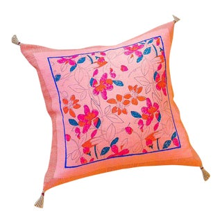 Teejan Handwoven & Block-printed Linen Pillow with Insert For Sale