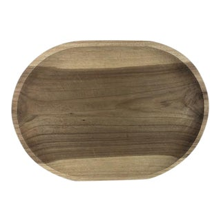 Large Handcarved Oval Wood Platter For Sale