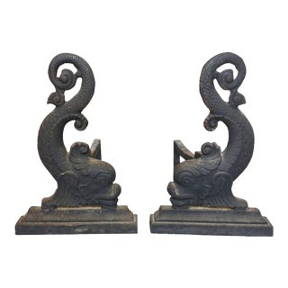 19th Century Cast Iron Dolphin Andirons - a Pair For Sale