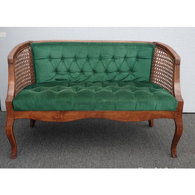 Vintage French Country Tufted Green Velvet Settee Loveseat W Cane #2 For Sale - Image 13 of 13