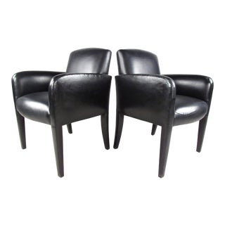 Pair of Mid-Century Italian Leather Side Chairs by Donghia For Sale