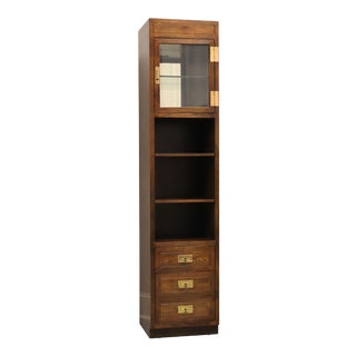 Henredon Scene One Campaign Style Slender Curio Cabinet For Sale