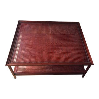 Thomas Pheasant Two Tier Wicker and Wood Coffee Table For Sale