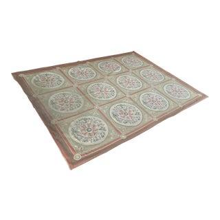 French Needlepoint Medallion Carpet For Sale