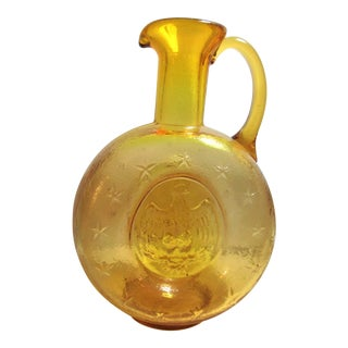 Kanawha Virginia Blown Pinched Amber Glass American Eagle and Stars Pitcher For Sale