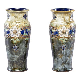 Pair Tall Royal Doulton Art Nouveau Lambeth Vases by Winnie Bowstead