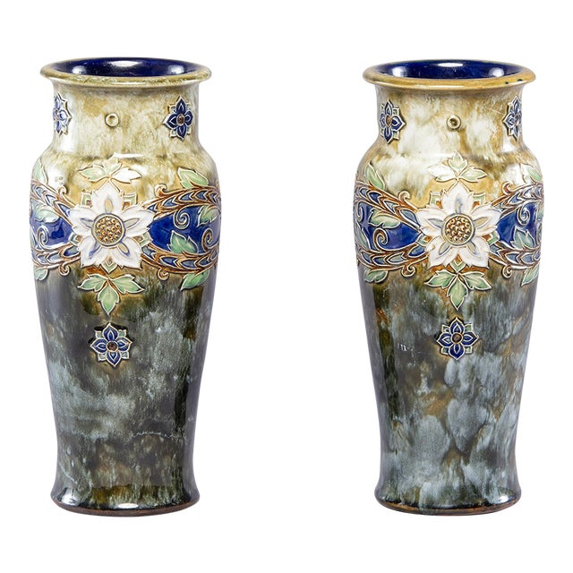 Pair Tall Royal Doulton Art Nouveau Lambeth Vases by Winnie Bowstead For Sale