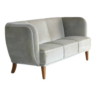 Danish Mid-Century Curved or Banana Form Sofa in Beech and Mohair, 1940s For Sale