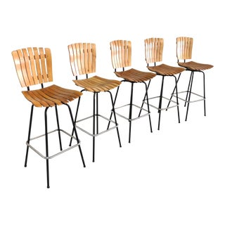 1960s Mid Century Modern Arthur Umanoff Wooden Slat Swivel Bar Stools - Set of 5 For Sale