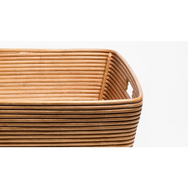 French Vintage Rattan Cane Basket For Sale - Image 3 of 5