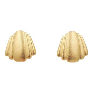 Monet Matte Goldtone Pierced Earrings, 1984 Ad Piece For Sale