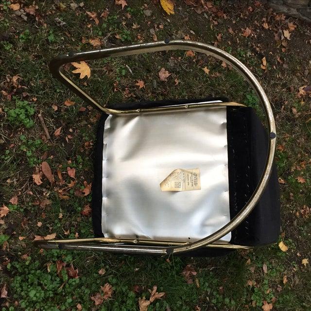 Black Velvet Brass Cantilever Chairs - Set of 4 - Image 10 of 11
