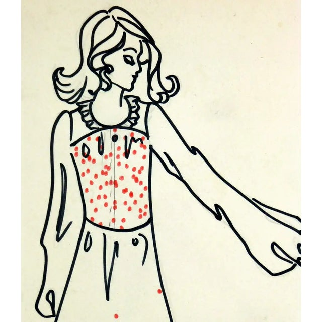 Charming ink and pencil fashion sketch of a lightly embroidered costume dress by Paris fashion house Création Corine...