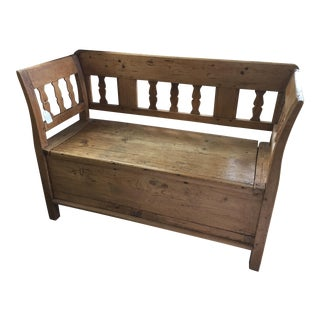 Irish Pine Settle with Storage For Sale