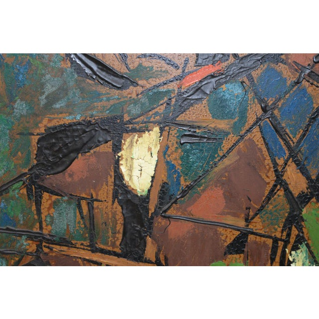 """Green Vintage Impasto """"Polo Match"""" Abstract Oil Painting C.1970s For Sale - Image 8 of 11"""