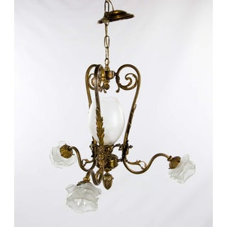 Victorian Style Four Light Brass and Glass Chandelier Preview
