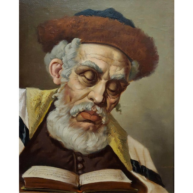 Realism Lajos Polczer - Portrait of a Patriarch Rabbi -Oil Painting For Sale - Image 3 of 10