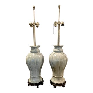 Pair Marbro Large Chinese Celadon Lamps, C. 1960-80 For Sale